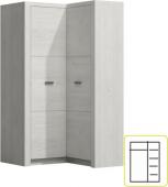 Rohová šatní skříň INFINITY 14 jasan bílý