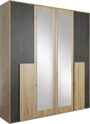 Šatní skříň BAFRA 4D dub artisan/černá borovice norská