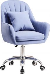 Designové kancelářské křeslo KLIAN, modrá Velvet látka/chrom