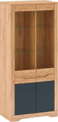 Vitrína FIDEL H, dub craft zlatý/grafit šedá