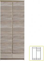 Šatní skříň PANAMA Typ 01, 2D2S, dub sonoma