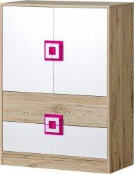 Dětská skříňka NIKO 9 dub jasný/bílá/růžová