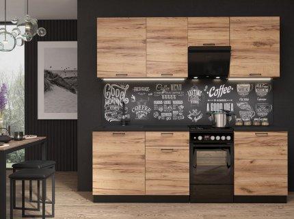 Kuchyňská linka LAVENDER 220 cm dub delano/černá