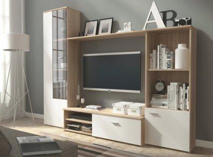 Obývací stěna HUGO sonoma/bílá