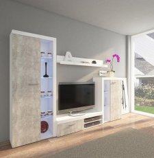 Obývací stěna, sestava RIZO bílá/beton