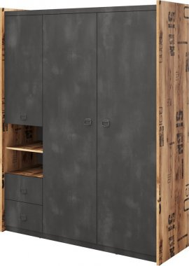 Šatní skříň DRAKE 01 fargo, 3-dveřová, smrk/steel