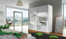 Šatní skříň BURGAS III bílá/zrcadlo