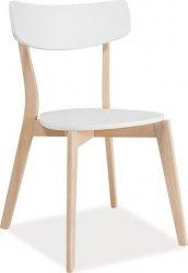Dřevěná jídelní židle TIBI bílá/dub