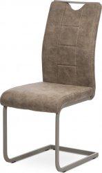 Pohupovací jídelní židle DCL-412 LAN3, lanýžová látka v dekoru vintage kůže, bílé prošití/kov