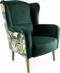 Designové křeslo ušák BELEK, smaragdová/vzor Jungle