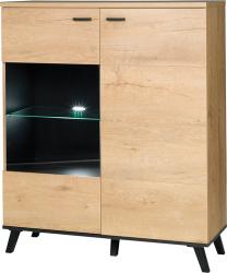 Skříňka s vitrínou SIRAN TYP 4, dub lefkas/černá