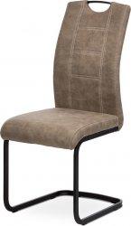 Pohupovací jídelní židle DCL-413 LAN3, lanýžová látka v dekoru vintage kůže, bílé prošití/černý kov