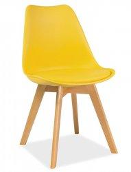 Plastová jídelní židle KRIS žlutá/buk
