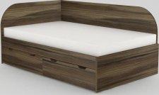 Dětská postel REA GARY 120x200 s úložným prostorem, levá, OŘECH ROCKPILE