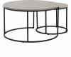 Kulatý konferenční stolek IKLIN, set 2 kusů, beton/černá