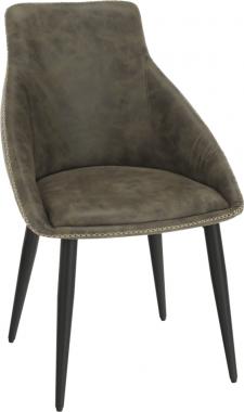 Designová jídelní židle DARAY, hnědá látka s efektem broušené kůže