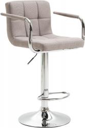 Barová židle LEORA 2 NEW, látka šedohnědá taupe/chrom