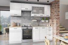 Kuchyňská linka BURNS 240 cm, bílá akryl