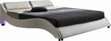 Čalouněná postel PASCALE 160x200, s LED osvětlením, bílá