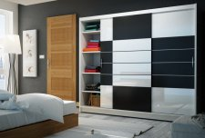 Šatní skříň ARUBA 250 bílá/černá