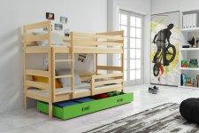Patrová postel Norbert borovice/zelená