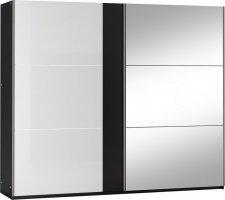 Šatní skříň TUNIS 250 černá/bílá lesk