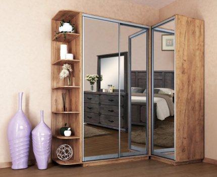 Rohová šatní skříň LEVANTO 180x120, kraft zlatý/zrcadlo