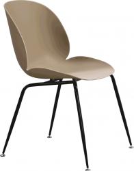 Plastová jídelní židle SONAIA, béžová/černý kov