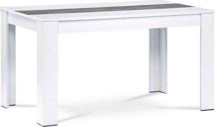 Jídelní stůl DT-P140 WT, bílá/dekorační pruh beton