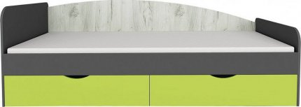 Dětská postel DISNEY 90x200 s úložným prostorem, dub kraft bílý/šedý grafit/limeta