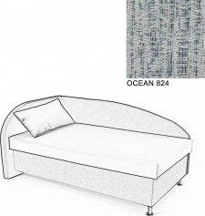 Čalouněná postel AVA NAVI, s úložným prostorem, 120x200, levá, OCEAN 824