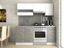 Kuchyňská linka Luigi III 180 cm, bílá/beton