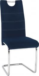 Pohupovací jídelní židle ABIRA NEW modrá Velvet látka/chrom