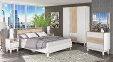 Ložnice PATRICIA bílá/sonoma (postel 160, 2 noční stolky, komoda, skříň)