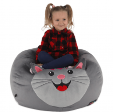 Dětský sedací vak BABY TYP 1, šedá látka, kočička