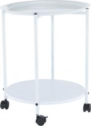 Příruční stolek s odkládací tácem, bílá, Derin