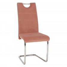 Pohupovací jídelní židle ABIRA NEW růžová Velvet látka/chrom
