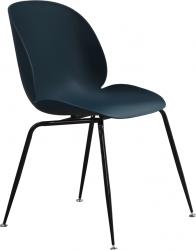 Plastová jídelní židle SONAIA, tmavomodrá/černý kov