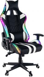Kancelářské herní křeslo ZOPA s RGB podsvícením, černá/bílá/barevný vzor