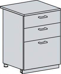 Spodní kuchyňská skříňka VALERIA 60D3S se šuplíky, bk/bílá lesk