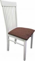 Dřevěná jídelní židle ASTRO NEW, bílá/hnědá látka