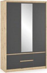 Šatní skříň DOMINIKA 3D dub artisan/šedý