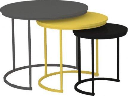 Set tří příručních stolků, šedá / žlutá / černá, RONEL