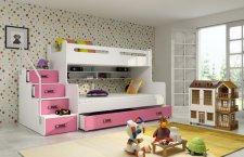 Patrová postel Maty NEW ÚP bílá/růžová