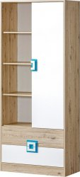 Kombinovaná skříň NIKO 4 dub jasný/bílá/tyrkys