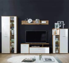 Obývací stěna, sestava REVEL s LED osvětlením, bílá lesk/dub artisan