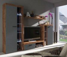 Obývací stěna, sestava RIZO dub lefkas/grafit