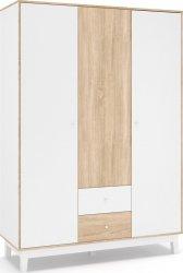 Šatní skříň PATRICIA 3D2S bílá/dub sonoma