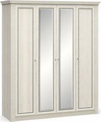 Šatní skříň BRISTOL NEW II 4D, jasan sněhový/zrcadlo