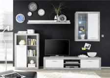Obývací stěna, sestava KLARK s LED osvětením, bílá/beton